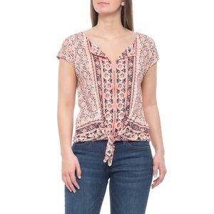 Lucky Brand Red Printed Split V-Neck Tie Front Top